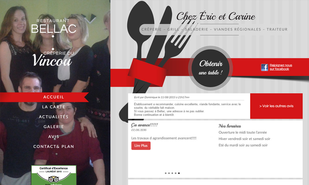 Site web du Restaurant Bellac