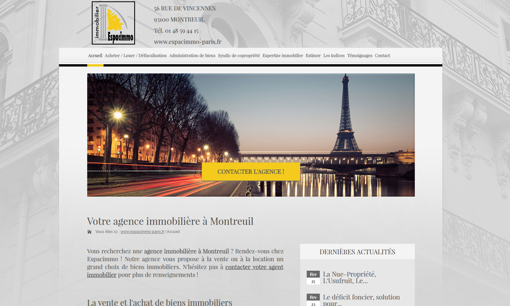 Site web du Espacimmo Paris