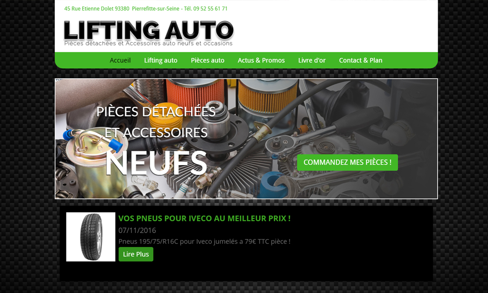 Site web du Lifting pieces auto
