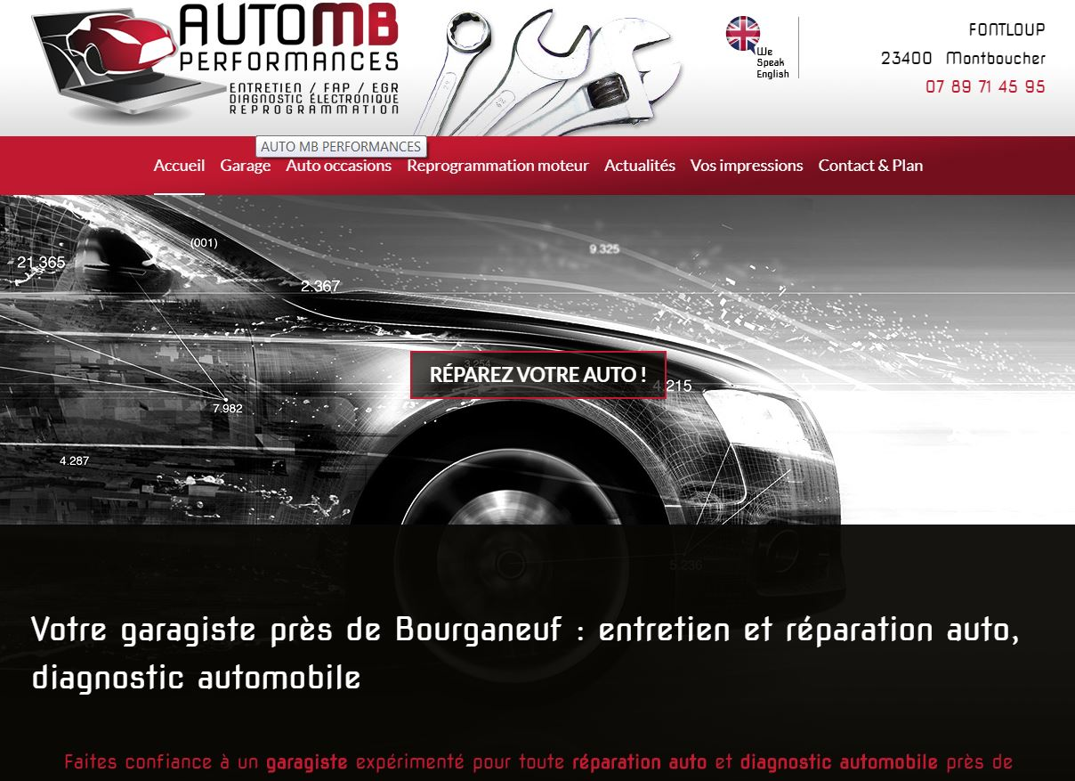 Site web du AUTO MB PERFORMANCES