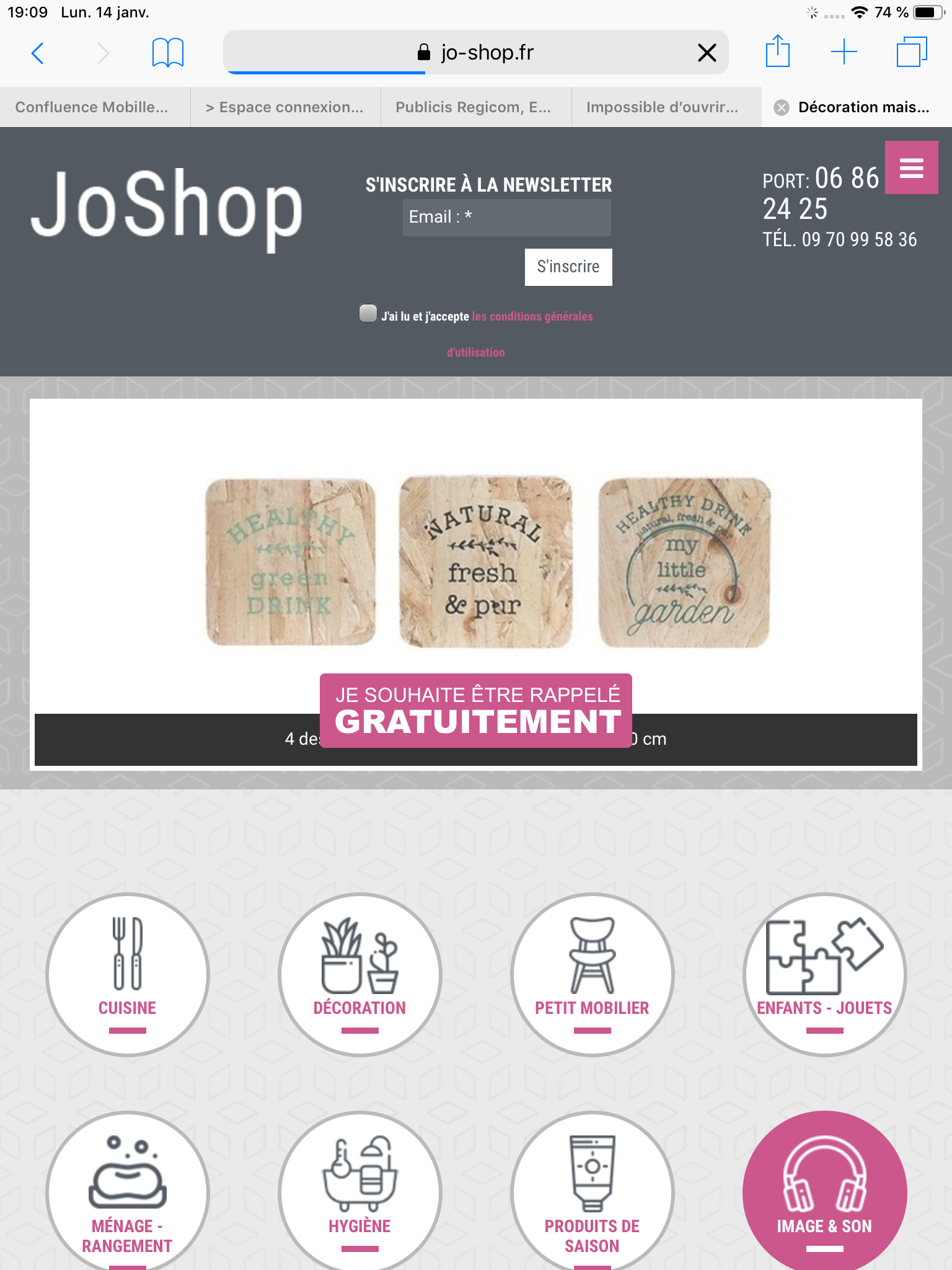 JoShop - Vue Tablette