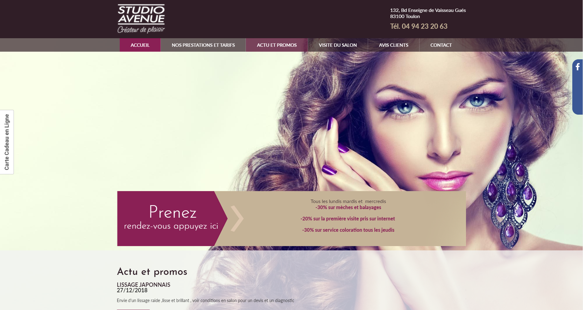Site web du Studio Avenue 83